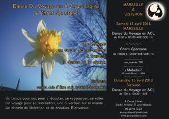 stage danse& chant du Voyage Marseille-Sisteron avril 18